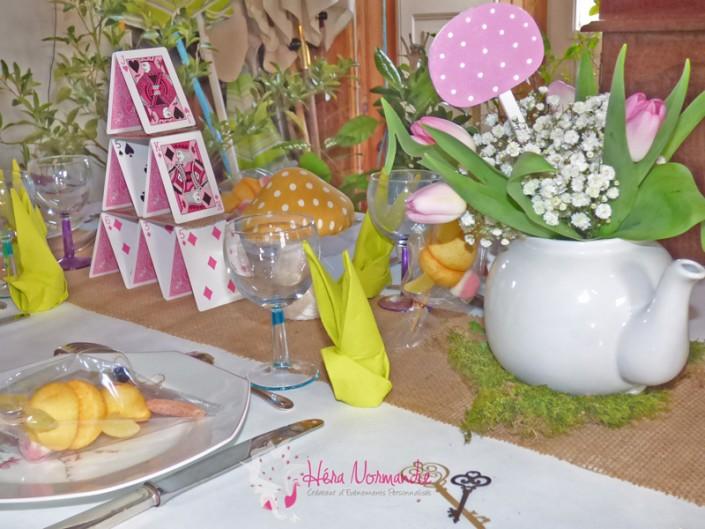 Décoration Alice au Pays des Merveilles Pâques cartes lapins champignons théière blog