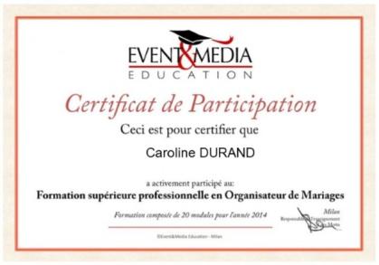 Certificat de participation, Formation Supérieure professionnelle en Organisateur de Mariages - Event & Media Education