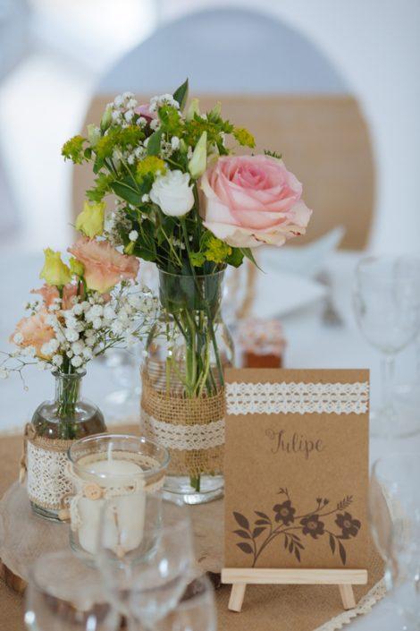 Centre de table décoration mariage champêtre jute rose