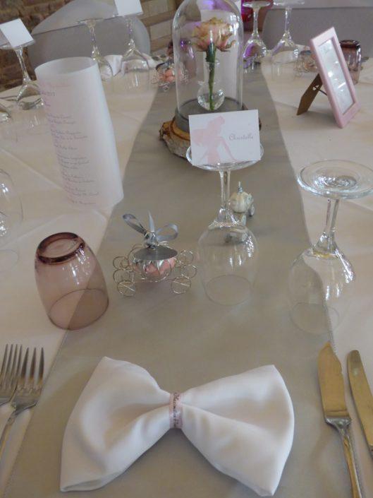 Décoration mariage Disney Princesses chic gris rose pâle