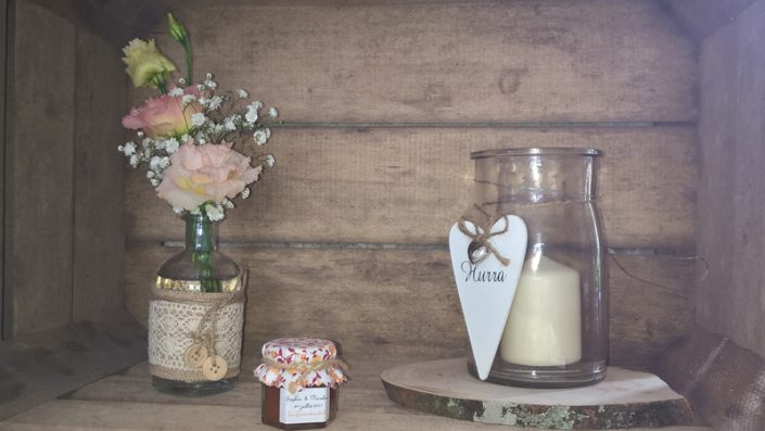 Décoration mariage champêtre caisse à pomme normandie