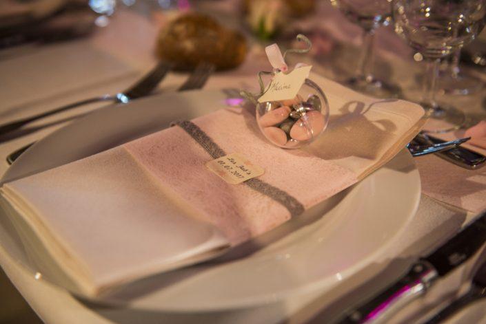 Lien de serviette gris rose ivoire décoration mariage calvados