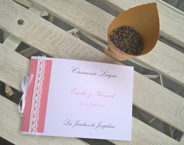 Livret de cérémonie laïque cornet de lavande mariage eurejpg